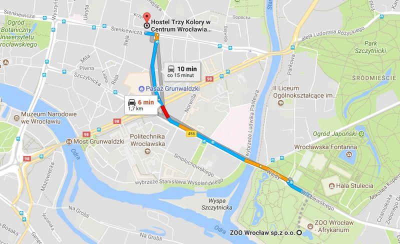 Mapa dojazdu do Ogrodu Zoologicznego